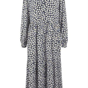 Y.A.S - Kjole - Daisy LS Long Dress - Navy Blazer