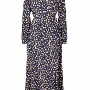 Elastica LS Dress - Navy Blazer - Minimum - Blomstret XS