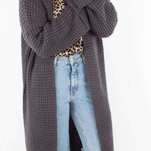 Oversized Chunky Sleeve Knit - Dark Grey - NA-KD - Grå XS