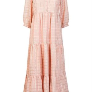 Y.A.S - Kjole - Estella 3/4 Ankle Dress - Cameo Rose/Gold Checks
