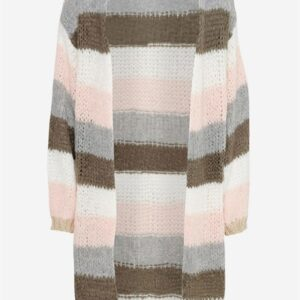 Noella - Cardigan - Kala Cardigan Long - Olive Green/Rose Stripes