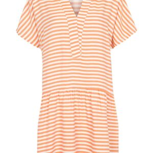 Basic Apparel - Kjole - Jenice Dress - Tomato Cream Stripe