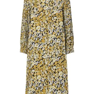 Pieces - Kjole - PC Monnie LS Midi Dress - Black/ Yellow Flower